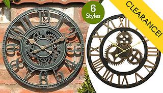 Industrial Cog Open Face Garden Wall Clock - 6 Designs