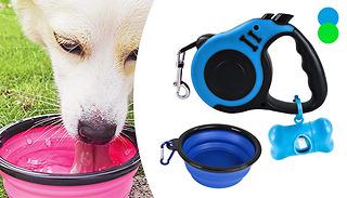 Retractable Dog Lead, Water Bowl & Bag Dispenser Set - 2 Colours
