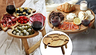 2-in-1 Mini Foldable Picnic Table With Wine Holders