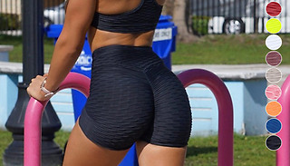 Booty Enhancing High-Waisted Textured Fitness Shorts - 9 Colours & 4 S ...
