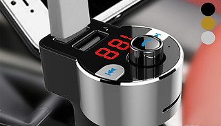 Car FM Bluetooth Transmitter with Dual USB Ports - 3 Colours
