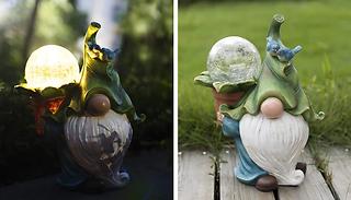 Resin Garden Gnome Statue with Solar LED Light
