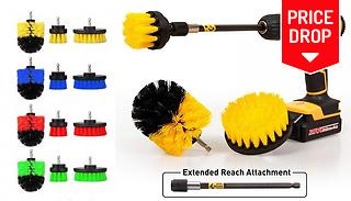4-Piece Scrub Brush Drill Attachment Set - 4 Colours