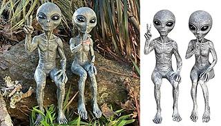 1 or 2-Pack of Alien Statue Figurines - 2 Designs