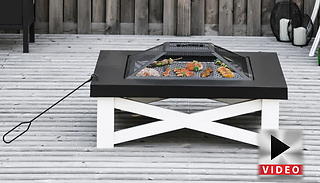 Outsunny Square Garden Fire Pit With Mesh Cover