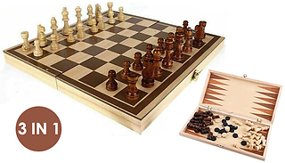3-in-1 Folding Chess & Checkers Set