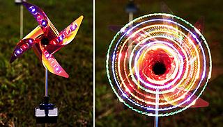 2-Pack of Solar Garden Stake Pinwheel Lights