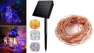 100 or 200 Solar Powered Metal Wire Fairy Lights - 3 Colours