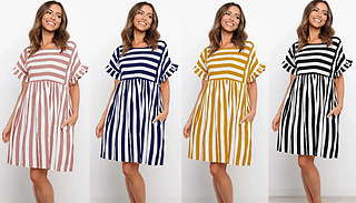 Striped Lotus-Sleeve Casual Dress - 4 Colours & 4 Sizes