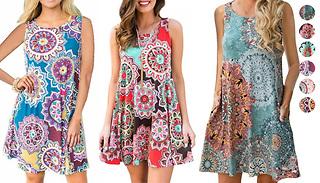 Retro Printed Dress - 6 Styles & 5 Sizes