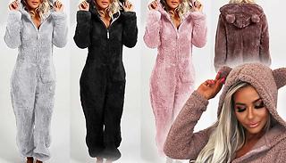 Women's Teddy Bear Furry Hooded Onesie - 5 Sizes & Colours