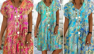 Printed V-Neck Boho Dress - 3 Colours & 5 Sizes
