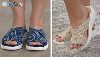 Crossover Strap Slip-On Beach Sandals - 4 Colours & 6 Sizes