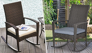 Rattan Rocking Chair With Cushion- 2 Colours